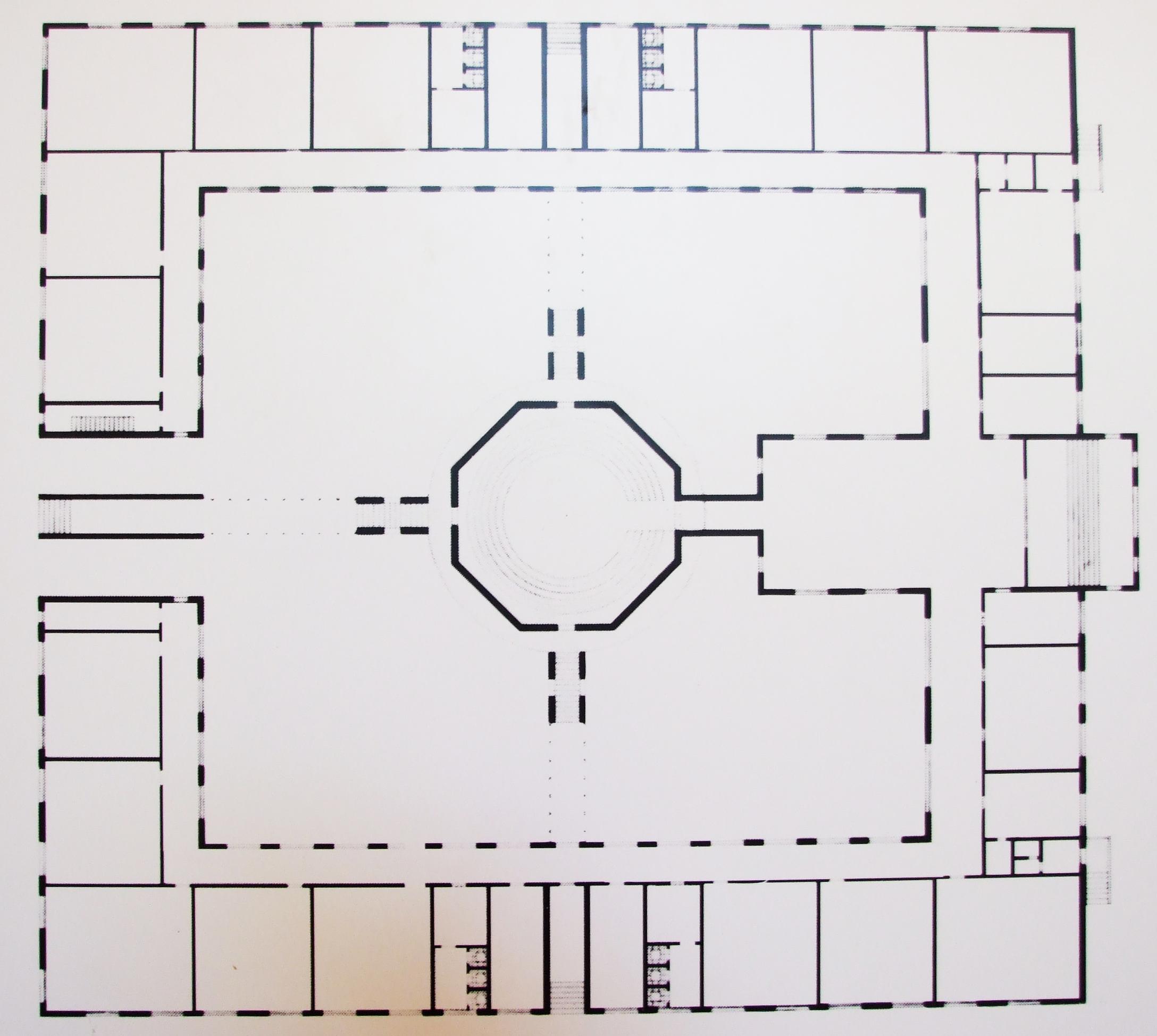 _broni, középiskola, 1983 aldo rossi klasszikus szimmetrikus egységes osztályokkal az udvar nyolcszögű közepe a kolostorépítészetet idézi