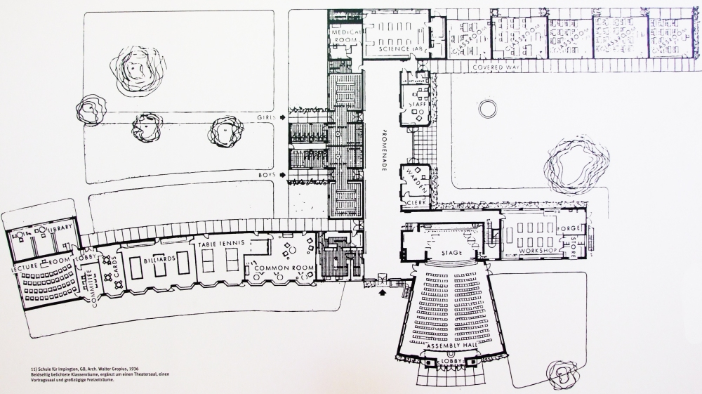 _w gropius impington 1936 kétoldalt világított termek színházterem előadóterem szabadidőterem