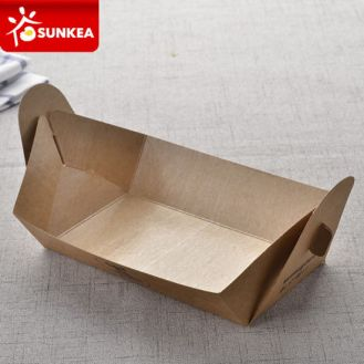 Dispsoable-No-Glue-Folded-Custom-Printed-Food-Paper-Tray